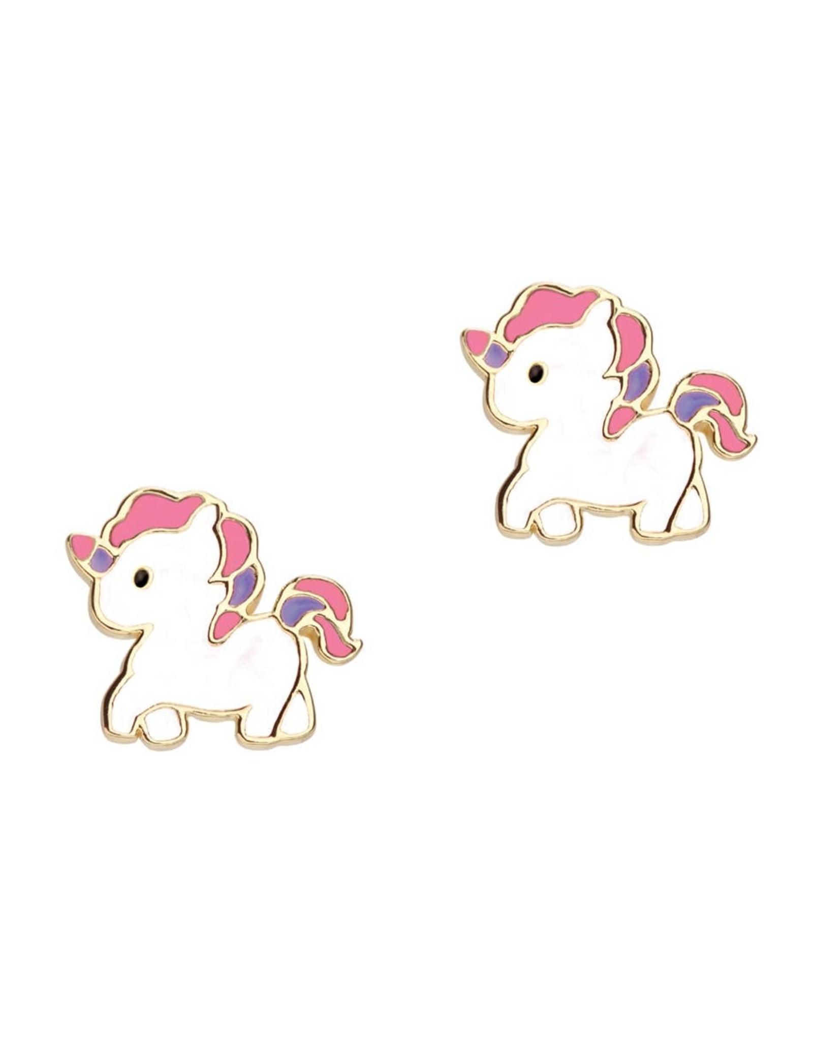 Girl Nation Enamel Studs Earrings - Walking unicorn