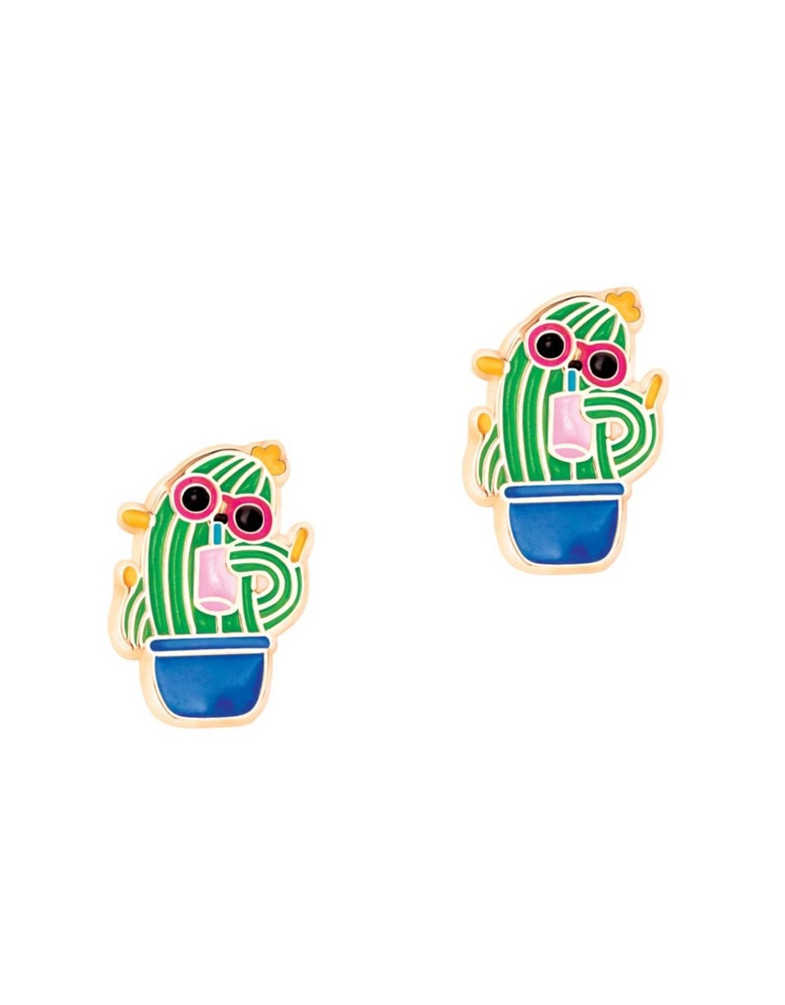 Girl Nation Boucles d'oreilles en émail - Cactus à lunette