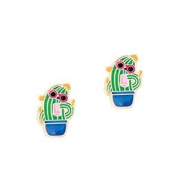 Girl Nation Enamel Studs Earrings - Cactus with sunglasses