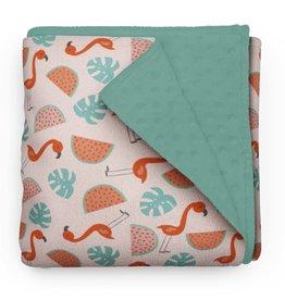 Olé Hop Minky Blanket - Caribbean Flamingos
