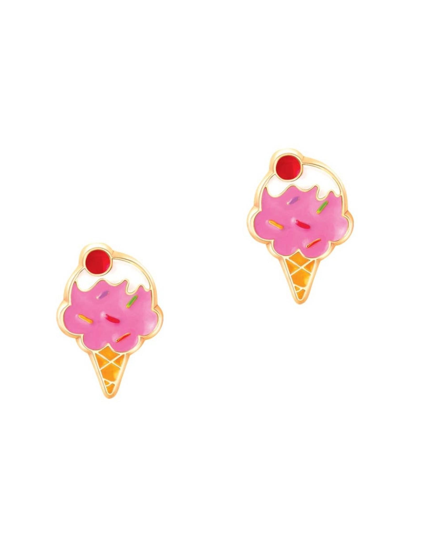 Girl Nation Boucles d'oreilles en émail - Cornet de crème glacée
