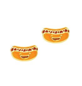 Girl Nation Boucles d'oreilles en émail - Hot dog
