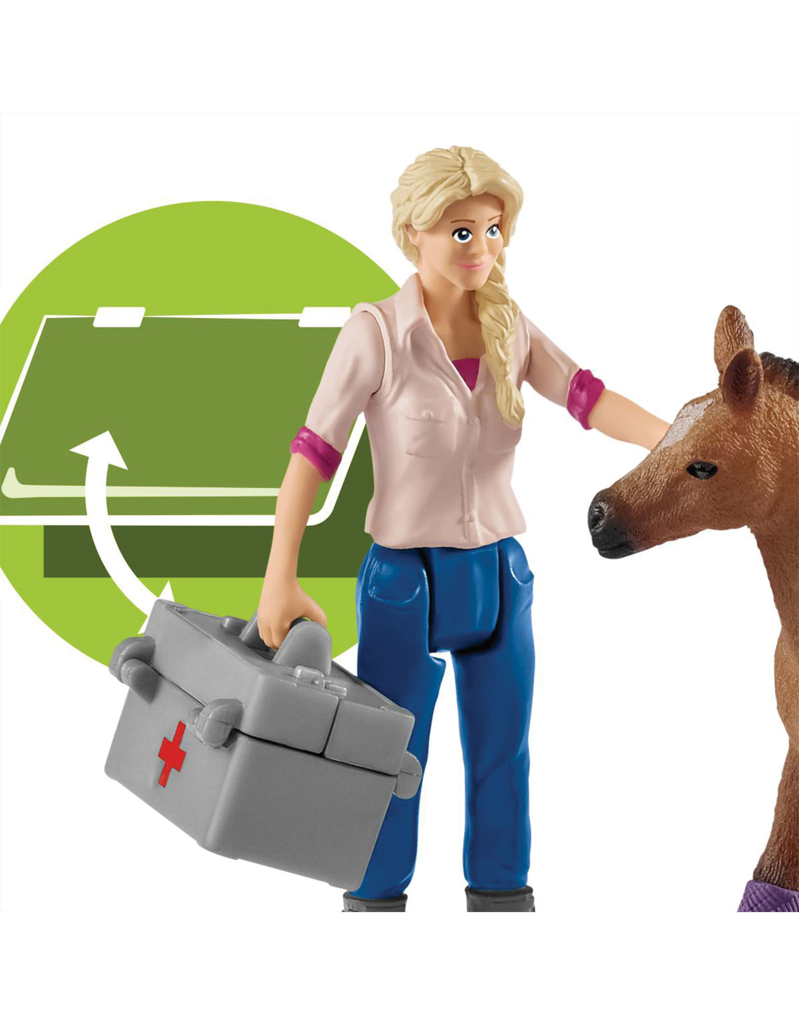 Schleich Vet Visiting Mare And Foal