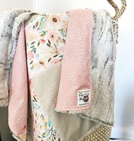 Les Petits Ziboo Couverture - Courtepointe Fleur rose et fourrure BLANCHE