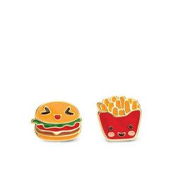 Girl Nation Boucles d'oreilles en émail - Hamburger et frite