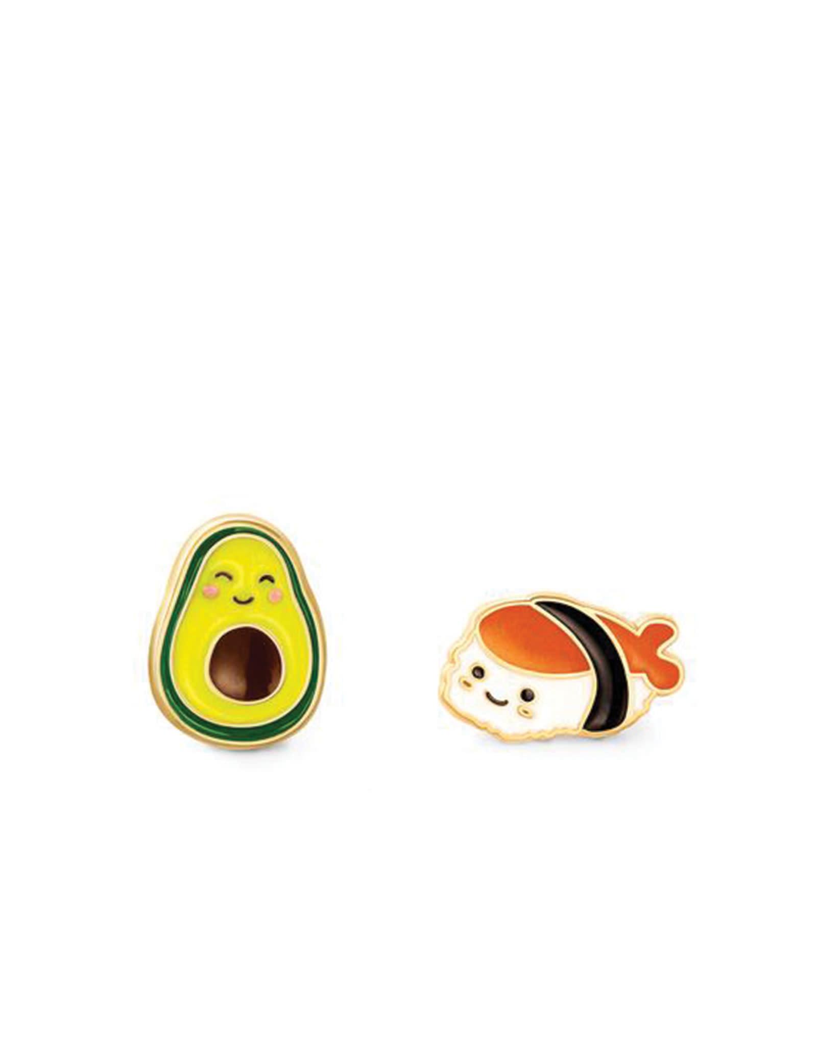 Girl Nation Boucles d'oreilles en émail - Avocat et sushi