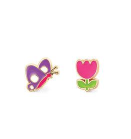 Girl Nation Boucles d'oreilles en émail - Papillon et fleur