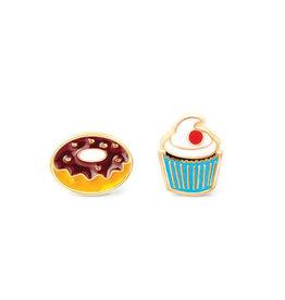 Girl Nation Boucles d'oreilles en émail - Beigne et cupcake