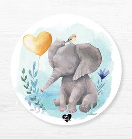 Zack et Livia Napperon rond - Éléphant bleu