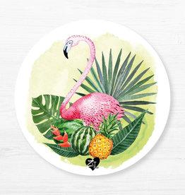 Zack et Livia Round Placemat - Flamingo