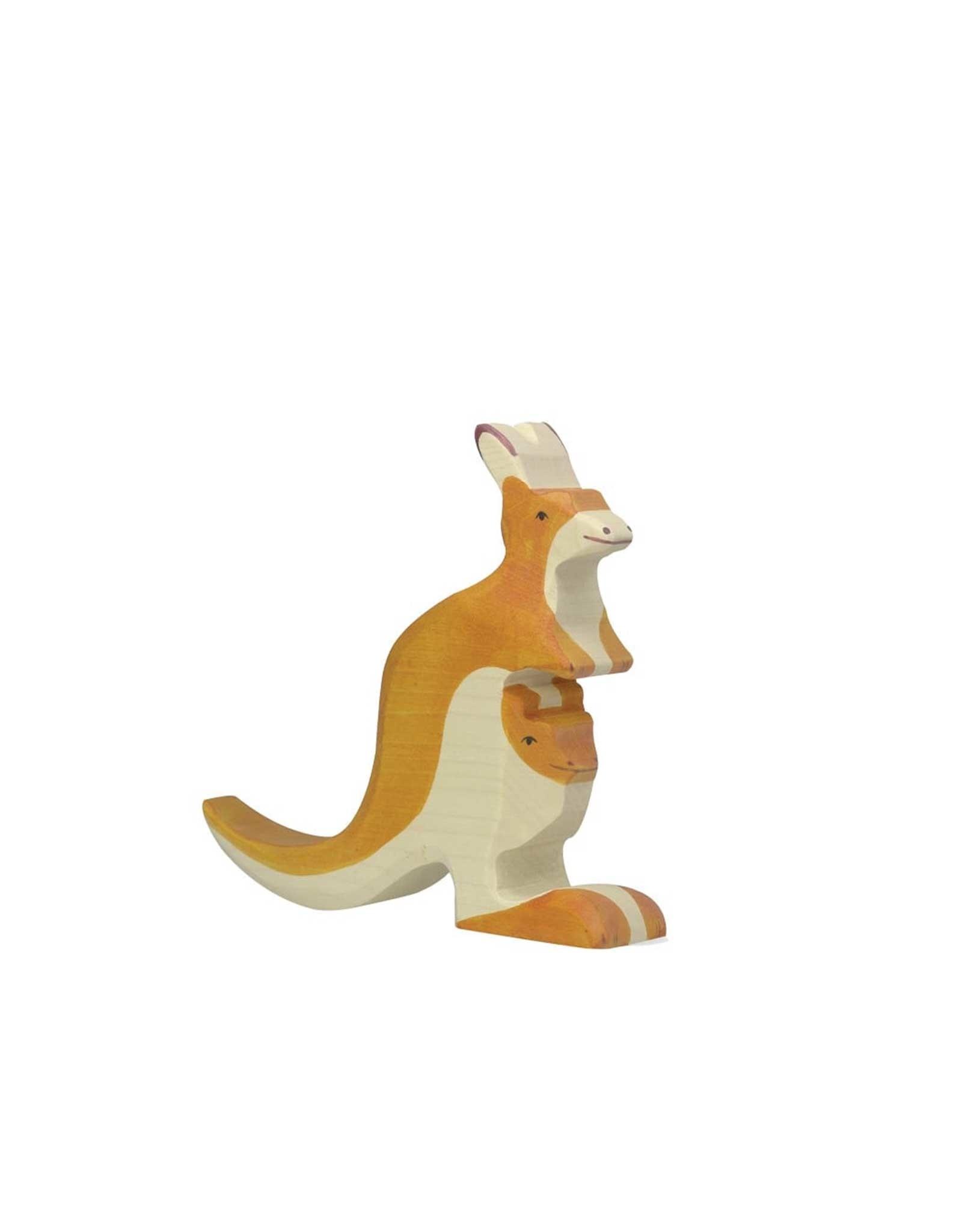 Holztiger Animal en bois - Maman kangourou et bébé