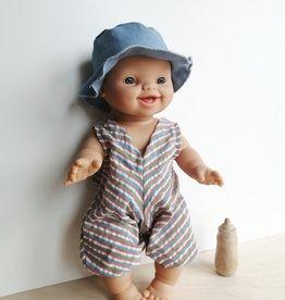 Veille sur toi Collection d'été pour poupée - Ensemble rayé bleu et orange avec chapeau