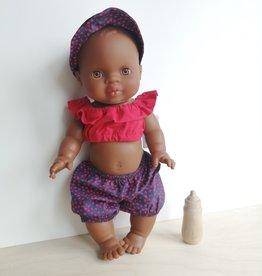Veille sur toi Collection d'été pour poupée - Short, camisole et chapeau soleilCollection d'été pour poupée - Short, camisole et chapeau soleil rouge et marine