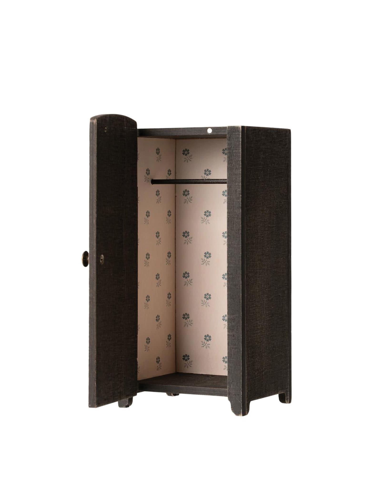 Maileg Vintage Closet With Hangers, Mini-Anthracite
