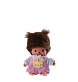 Monchhichi Bebichhichi - Bébé fille avec salopette rose