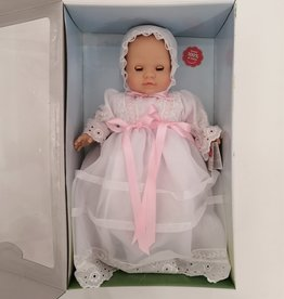 Paola Reina Los Manu doll fixed eyes and eyelashes - Doll with white dress