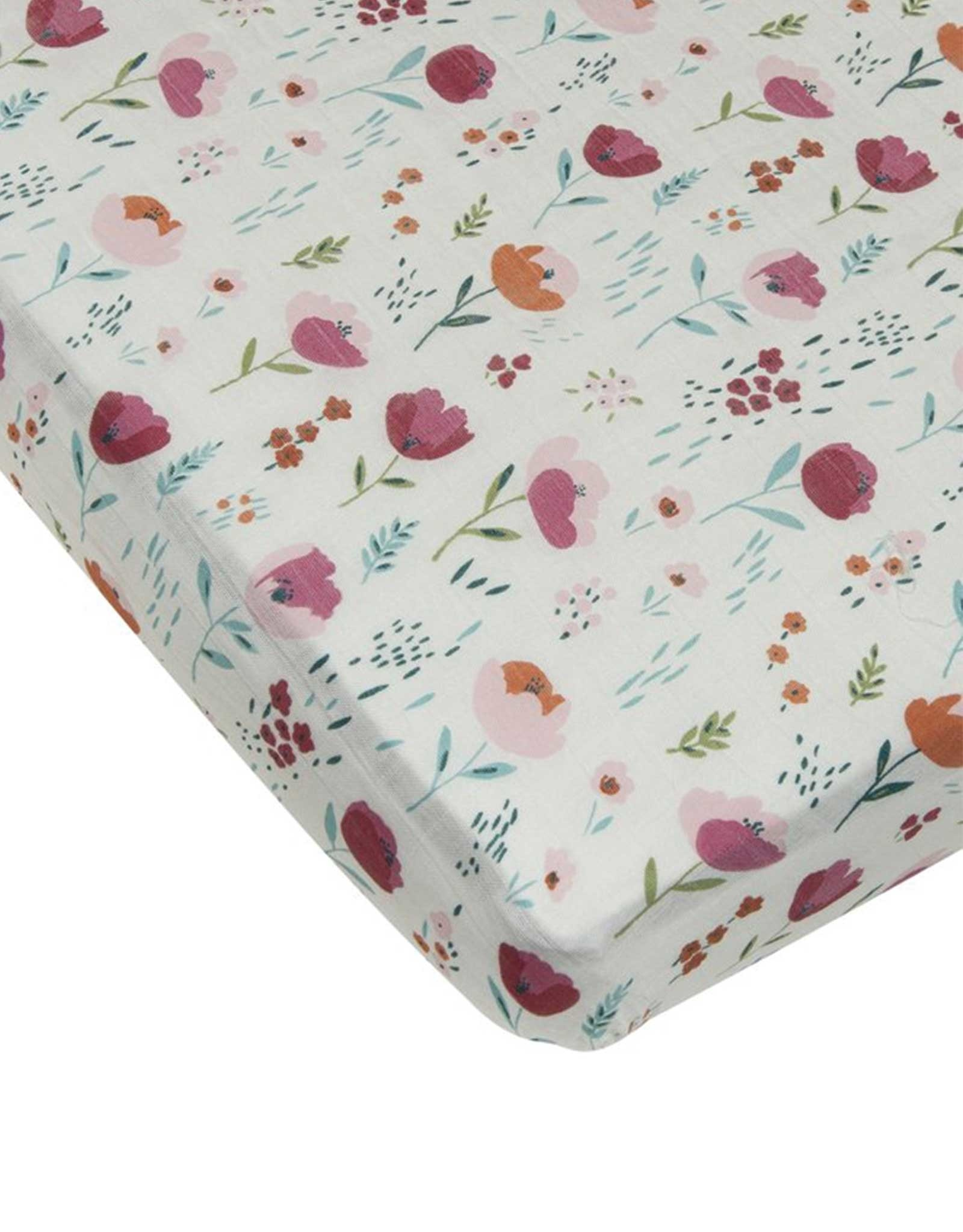 Loulou Lollipop Fitted Crib Sheet - Rosey Bloom
