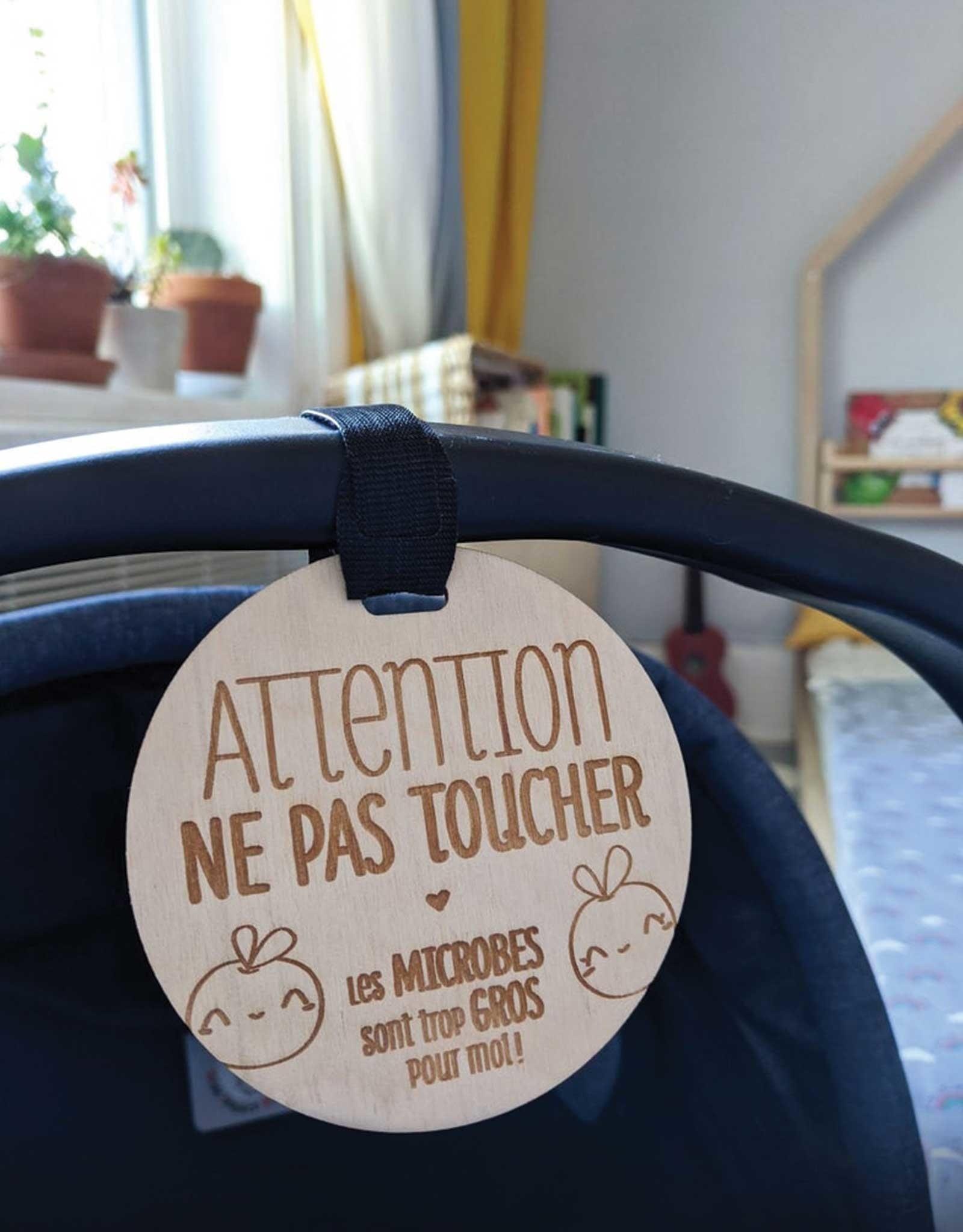 Serif & Glyph Affichette en bois - Attention ne pas toucher