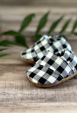 Trendy Baby Mocc Shop Black And White Buffalo Check Angled Moccasins