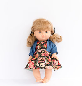 Paola Reina Vêtements de poupée - Robe noire fleurie et veste bleue