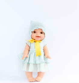 Paola Reina Doll clothes - Turquoise dress, knit hat and bow