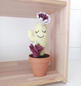 Pink Clémentine Cactus en feutrine - Prune et lilas endormi
