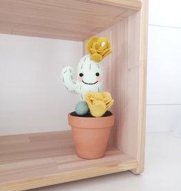 Pink Clémentine Cactus en feutrine - Moutarde et pompon vert éveillé
