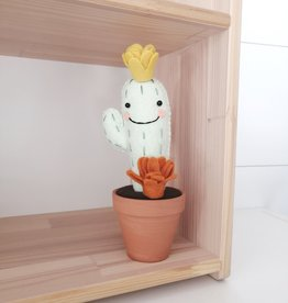 Pink Clémentine Cactus en feutrine - Fleurs moutarde et rouille