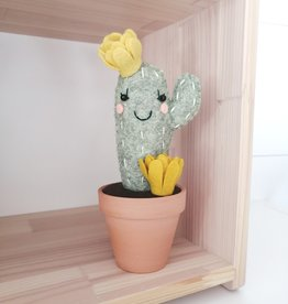 Pink Clémentine Wool felt cactus - Awake with mustard flowers
