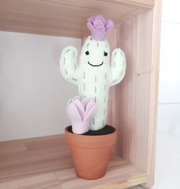 Pink Clémentine Wool felt cactus - Awake with lilac flowers