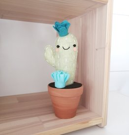 Pink Clémentine Wool felt cactus - Teal and mint