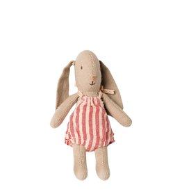 Maileg Bébé lapin fille barboteuse lignée rose et blanc