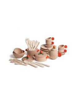 Erzi Ensemble de vaisselle en bois (36pièces)
