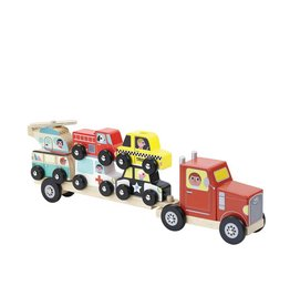 Vilac Stacking Truck & Trailer With Vehicles