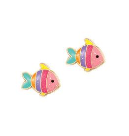 Girl Nation Enamel Studs Earrings - Rainbow fish