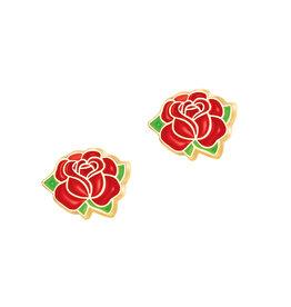 Girl Nation Boucles d'oreilles en émail - Rose rouge