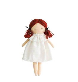 Alimrose Poupée en lin - Mini Matilda endormie & éveillée - Robe ivoire