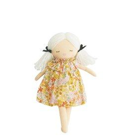 Alimrose Poupée en lin - Mini Matilda endormie & éveillée - Robe fleur de souci
