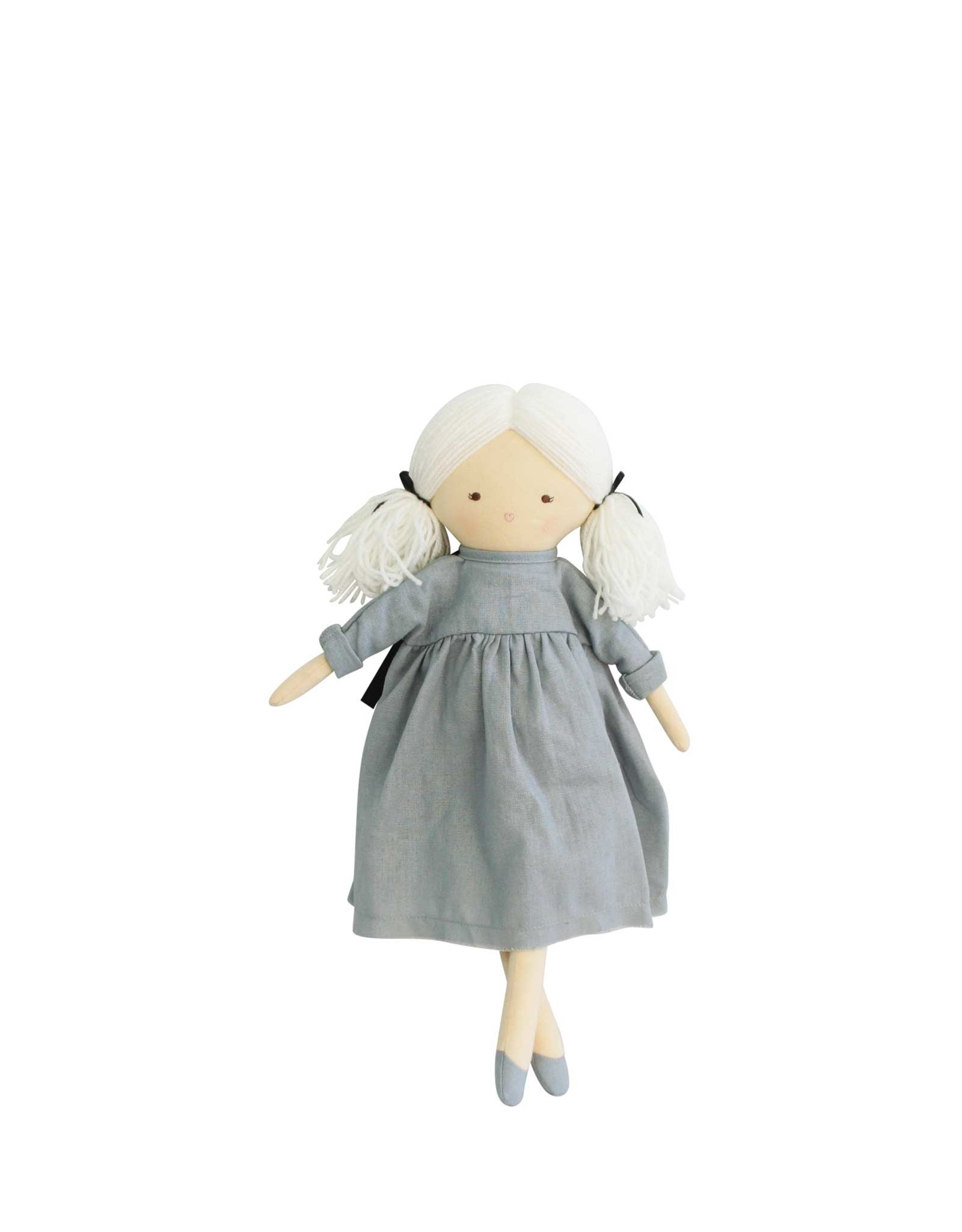 Alimrose Poupée en lin - Matilda robe grise