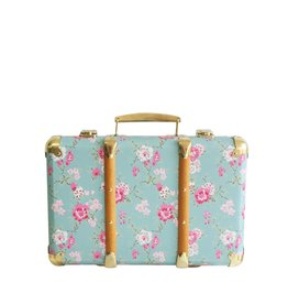 Alimrose Mini Vintage Brief Case Aqua Cottage Rose