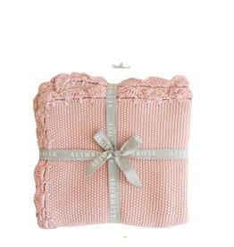 Alimrose Couverture pour bébé - Tricot organique rose