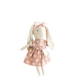 Alimrose Poupée en lin - Mini Sofia la lapine robe à pois rose