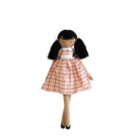 Alimrose Poupée en lin - Pippa robe tissu écossais rose