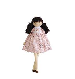Alimrose Poupée en lin - Pippa robe à pois rose