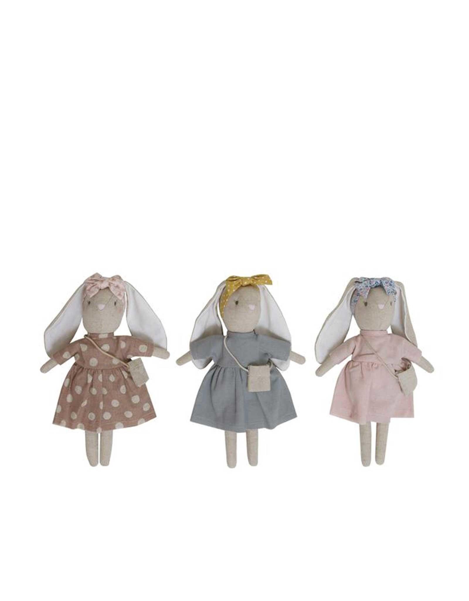 Alimrose Poupée en lin - Mini Sofia la lapine robe grise