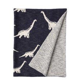 creativeco-op Couverture pour bébé en tricot de coton - Dinosaure marine