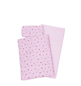 Goki Bedding Set For Dolls - Pink With Hearts