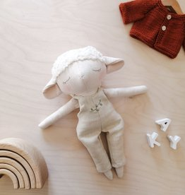 Mes petites lunes Doll-Plush - Lamb and beige overalls