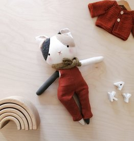 Mes petites lunes Cuddly Doll - Cat with rusty overalls and scarf