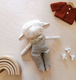 Mes petites lunes Plush Doll - Lamb with sage overalls and scarf